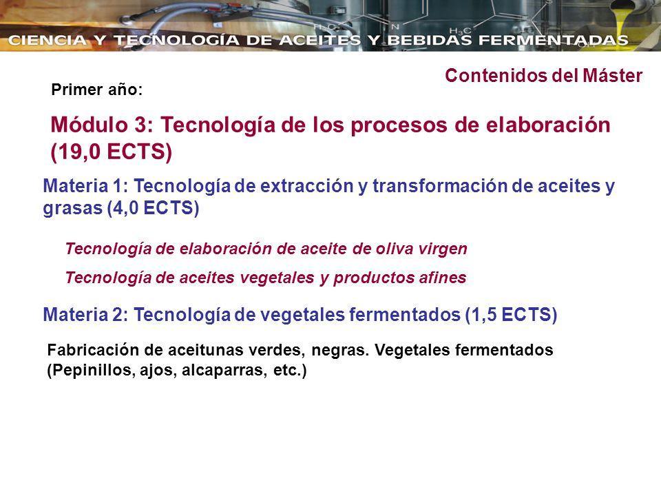 Módulo 3: Tecnología de los procesos de elaboración (19,0 ECTS)
