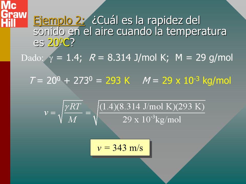 Ejemplo 2: ¿Cuál es la rapidez del sonido en el aire cuando la temperatura es 200C