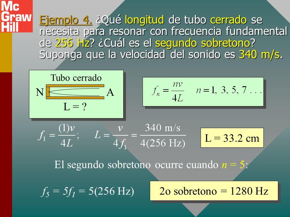 El segundo sobretono ocurre cuando n = 5: