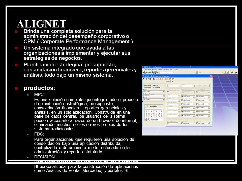 ALIGNET Brinda una completa solución para la administración del desempeño corporativo o CPM ( Corporate Performance Management ).
