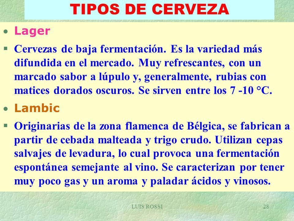 TIPOS DE CERVEZA Lager.