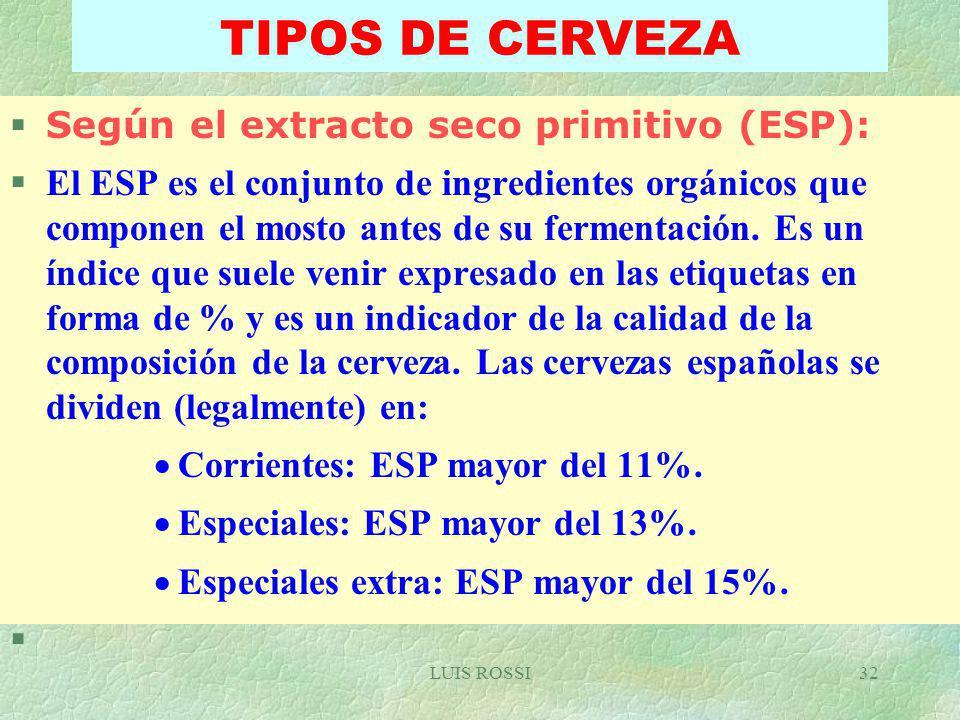 TIPOS DE CERVEZA Según el extracto seco primitivo (ESP):