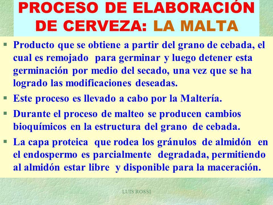 PROCESO DE ELABORACIÓN DE CERVEZA: LA MALTA