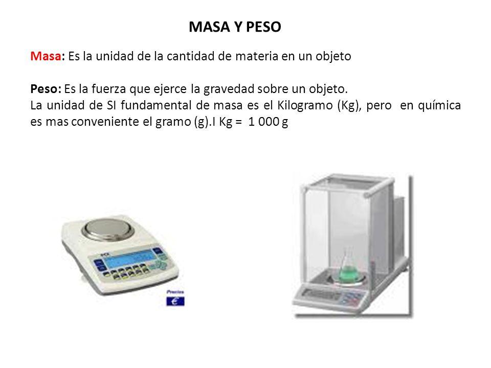 MASA Y PESO Masa: Es la unidad de la cantidad de materia en un objeto