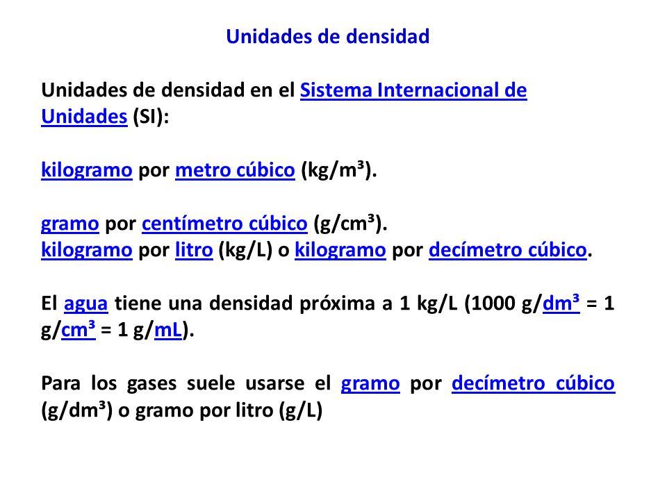 Unidades de densidad Unidades de densidad en el Sistema Internacional de Unidades (SI): kilogramo por metro cúbico (kg/m³).