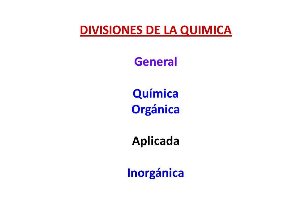 DIVISIONES DE LA QUIMICA