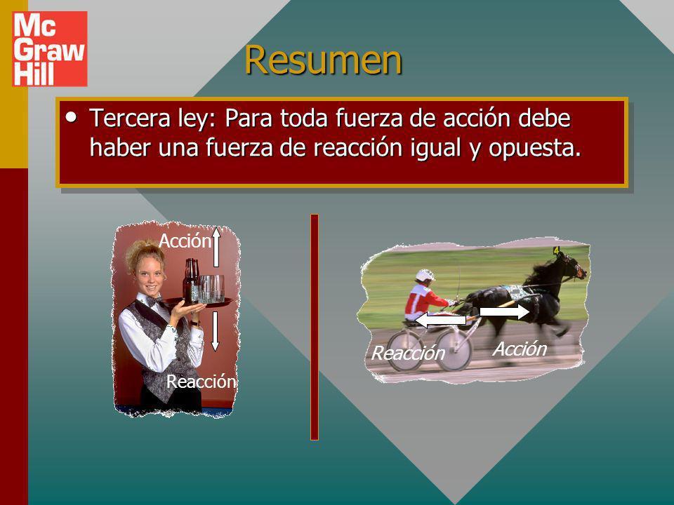 Resumen Tercera ley: Para toda fuerza de acción debe haber una fuerza de reacción igual y opuesta.