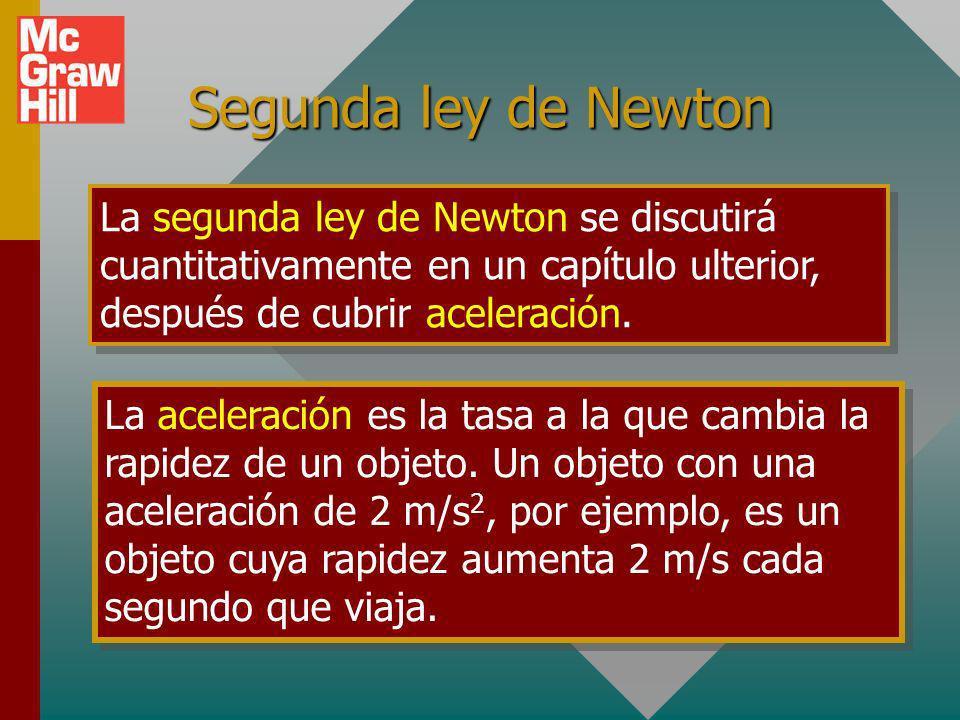 Segunda ley de NewtonLa segunda ley de Newton se discutirá cuantitativamente en un capítulo ulterior, después de cubrir aceleración.
