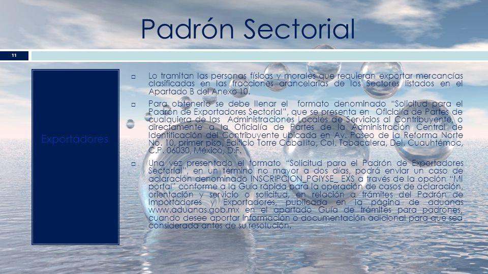 Padrón Sectorial Exportadores