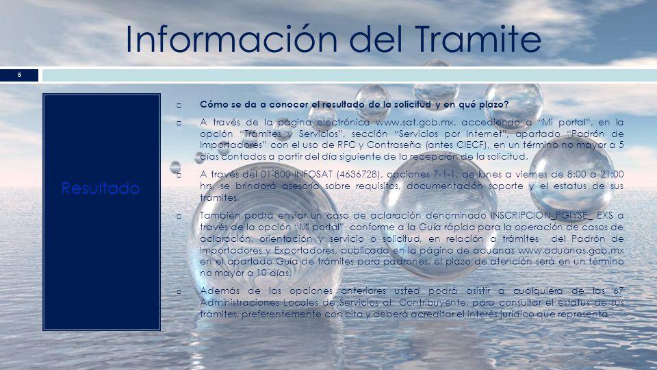 Información del Tramite