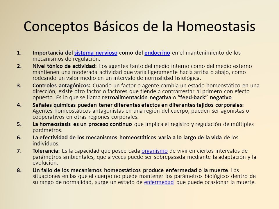 Conceptos Básicos de la Homeostasis