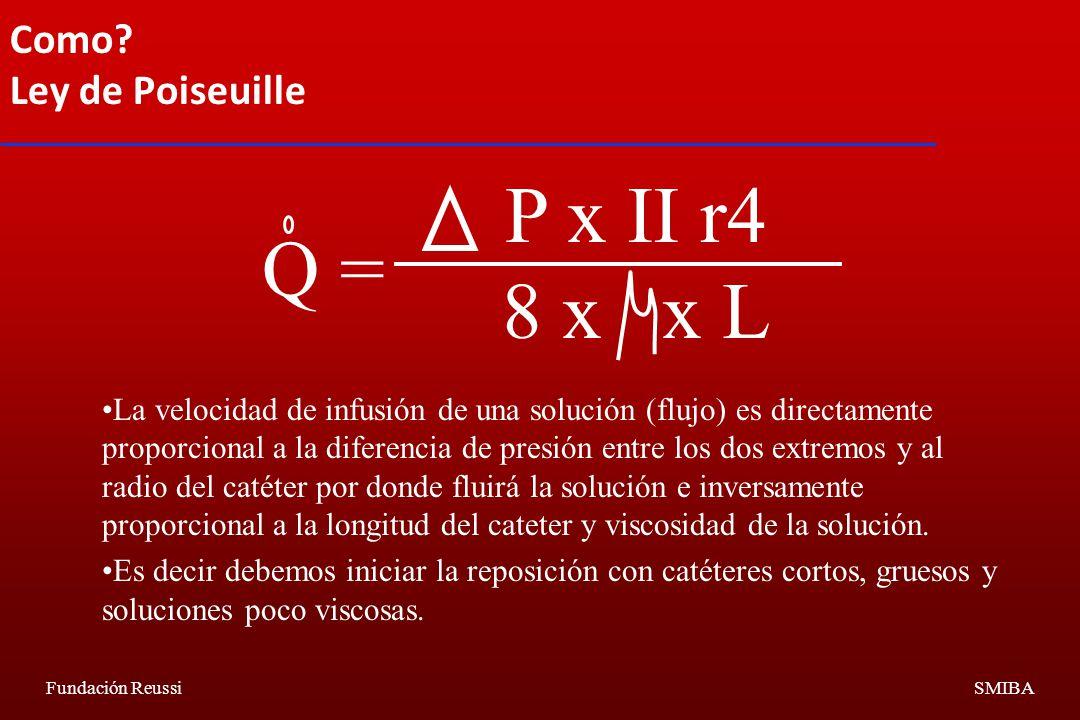 P x II r4 8 x x L Q = Como Ley de Poiseuille