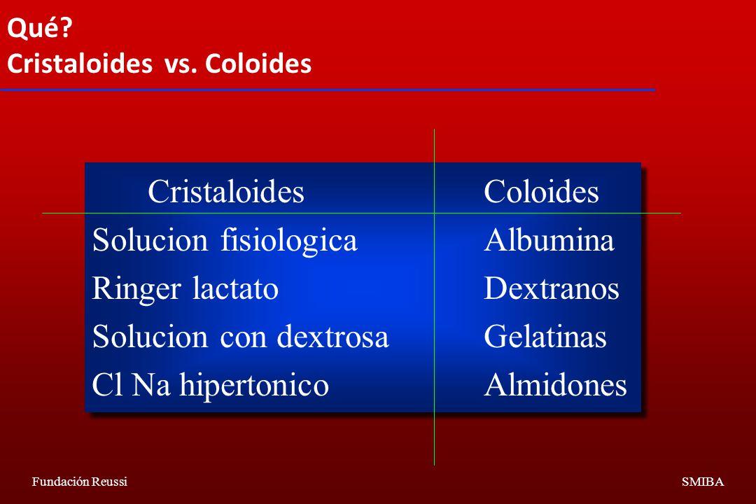 Cristaloides Coloides Solucion fisiologica Albumina