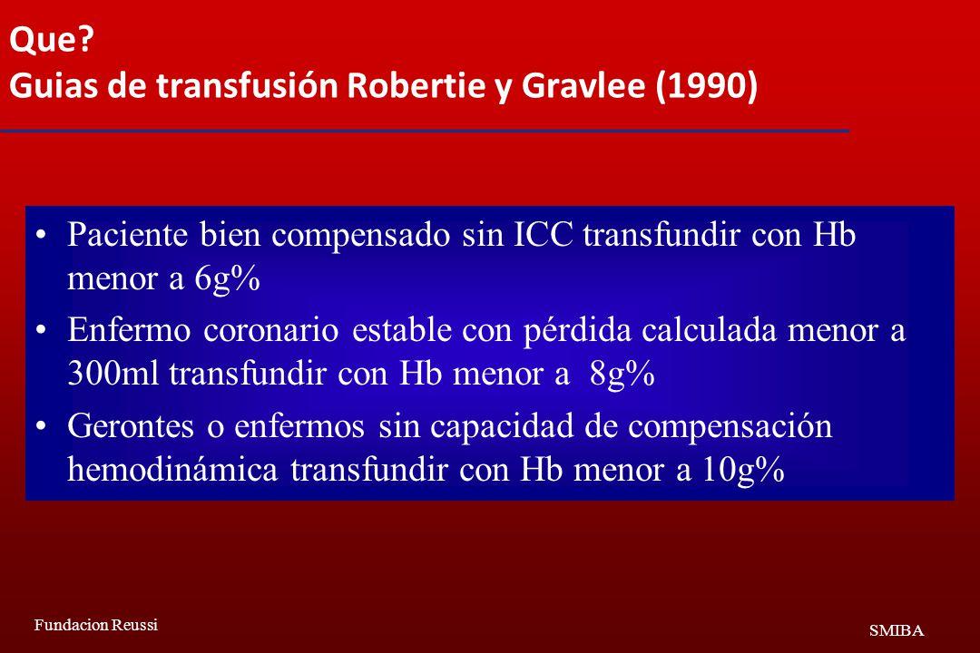 Que Guias de transfusión Robertie y Gravlee (1990)