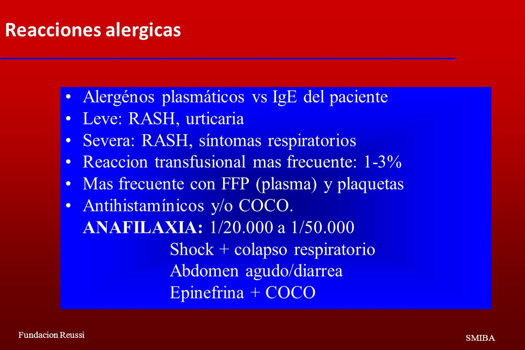 Reacciones alergicas Alergénos plasmáticos vs IgE del paciente