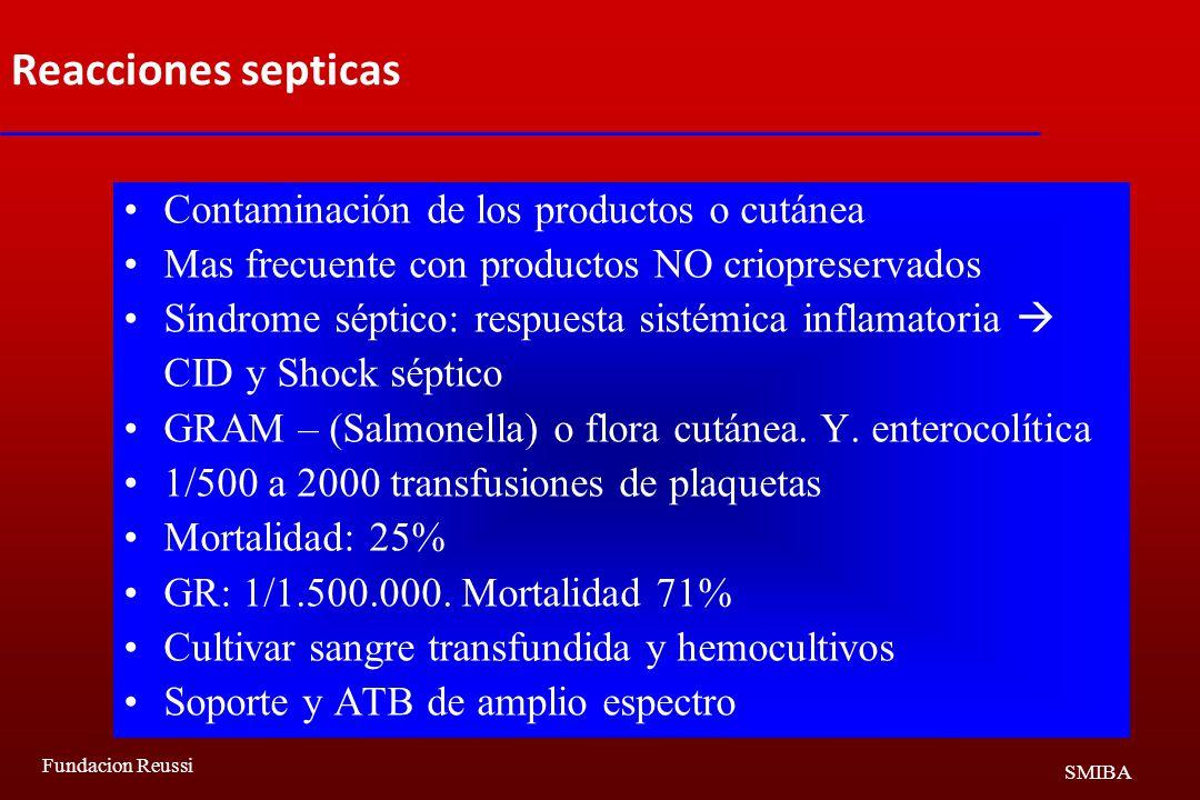 Reacciones septicas Contaminación de los productos o cutánea