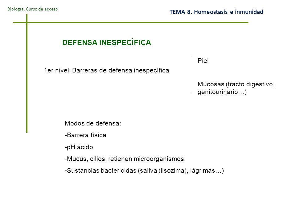 DEFENSA INESPECÍFICA Piel 1er nivel: Barreras de defensa inespecífica