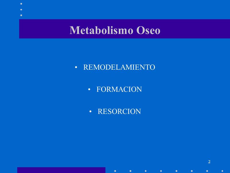 Metabolismo Oseo REMODELAMIENTO FORMACION RESORCION