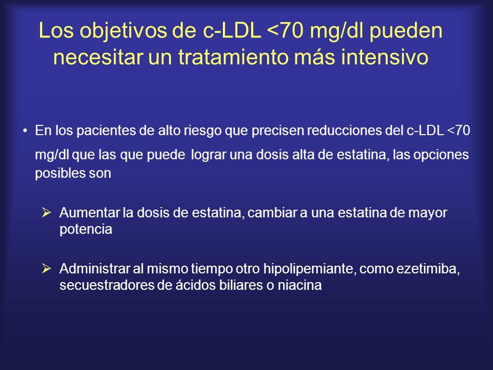 Los objetivos de c-LDL <70 mg/dl pueden necesitar un tratamiento más intensivo