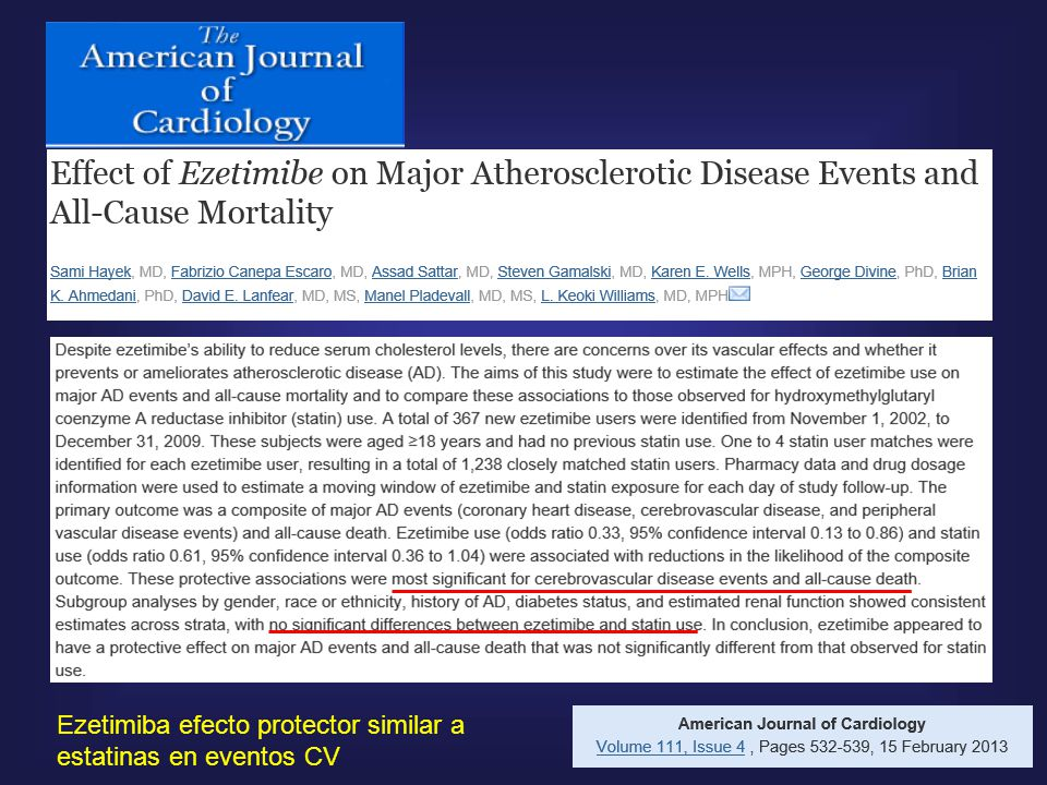 Ezetimiba efecto protector similar a estatinas en eventos CV
