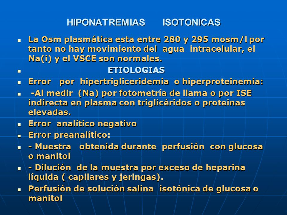 HIPONATREMIAS ISOTONICAS