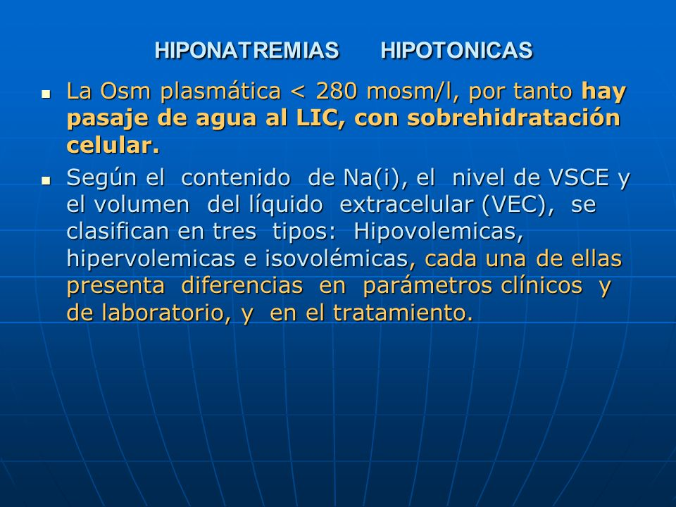 HIPONATREMIAS HIPOTONICAS