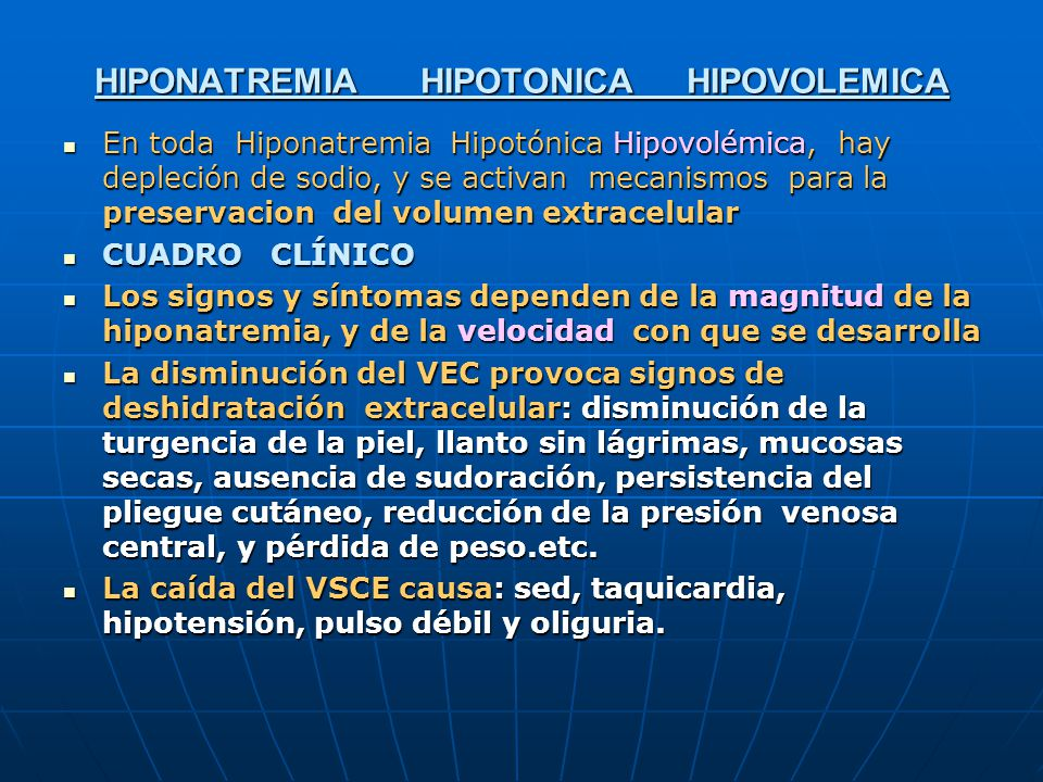 HIPONATREMIA HIPOTONICA HIPOVOLEMICA
