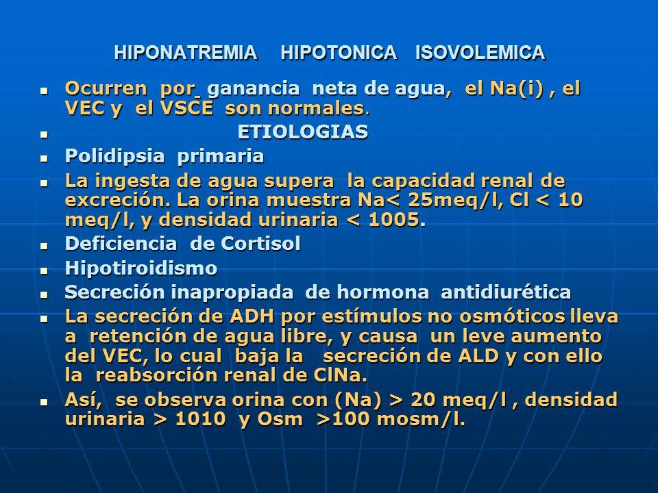 HIPONATREMIA HIPOTONICA ISOVOLEMICA