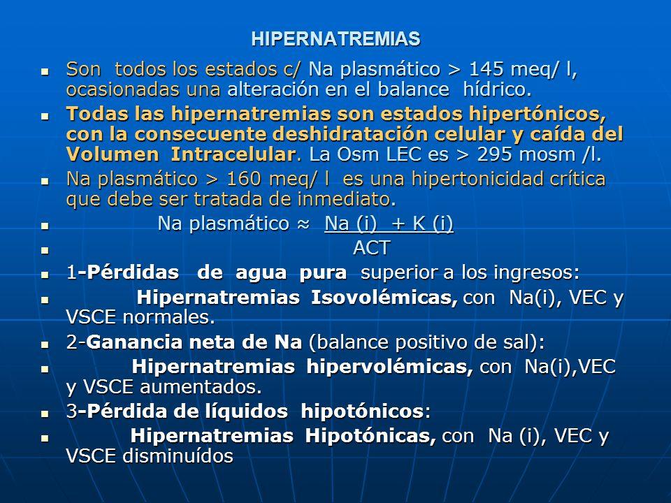 HIPERNATREMIAS Son todos los estados c/ Na plasmático > 145 meq/ l, ocasionadas una alteración en el balance hídrico.