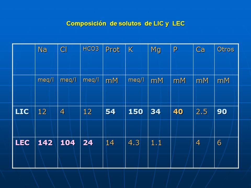 Composición de solutos de LIC y LEC
