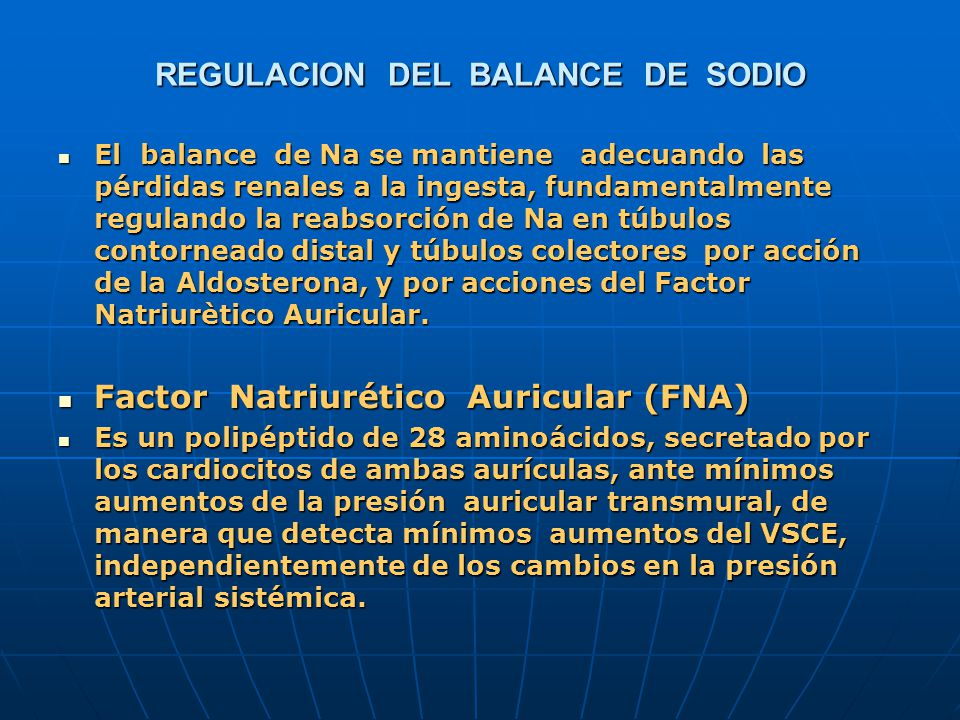 REGULACION DEL BALANCE DE SODIO