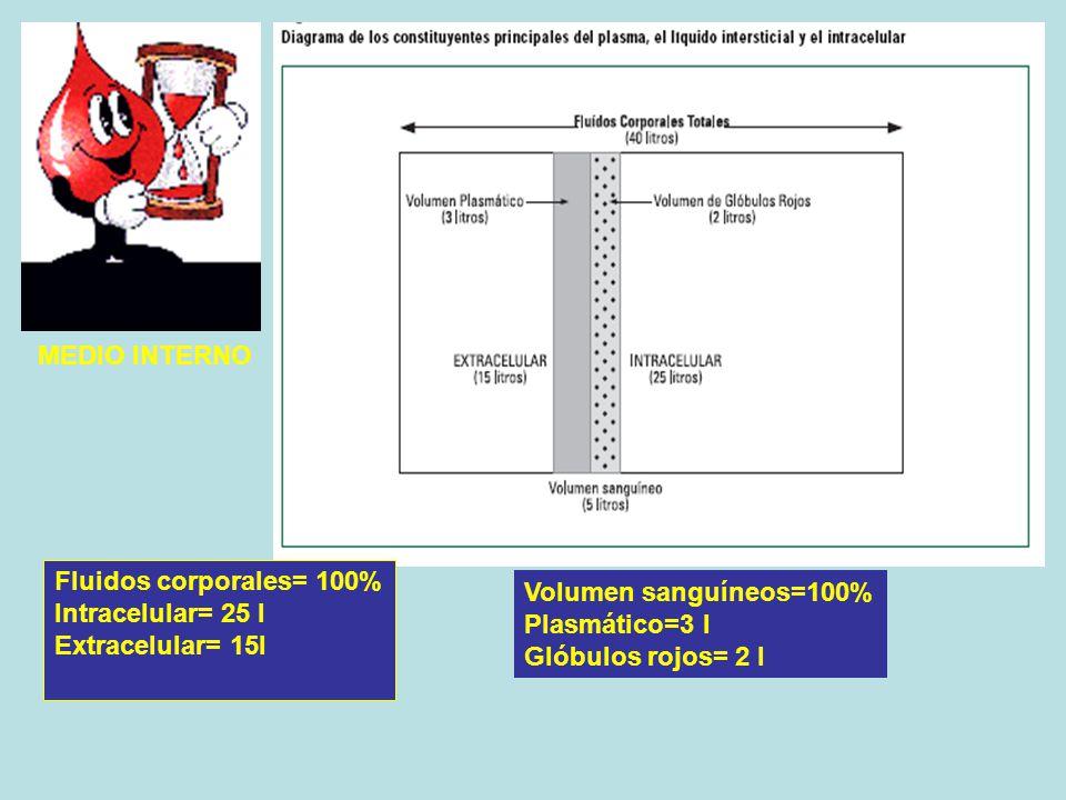 MEDIO INTERNO Fluidos corporales= 100% Intracelular= 25 l. Extracelular= 15l. Volumen sanguíneos=100%