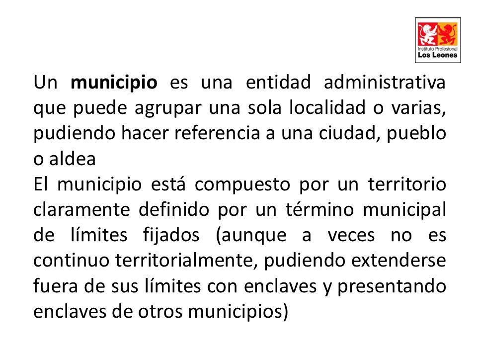 Un municipio es una entidad administrativa que puede agrupar una sola localidad o varias, pudiendo hacer referencia a una ciudad, pueblo o aldea