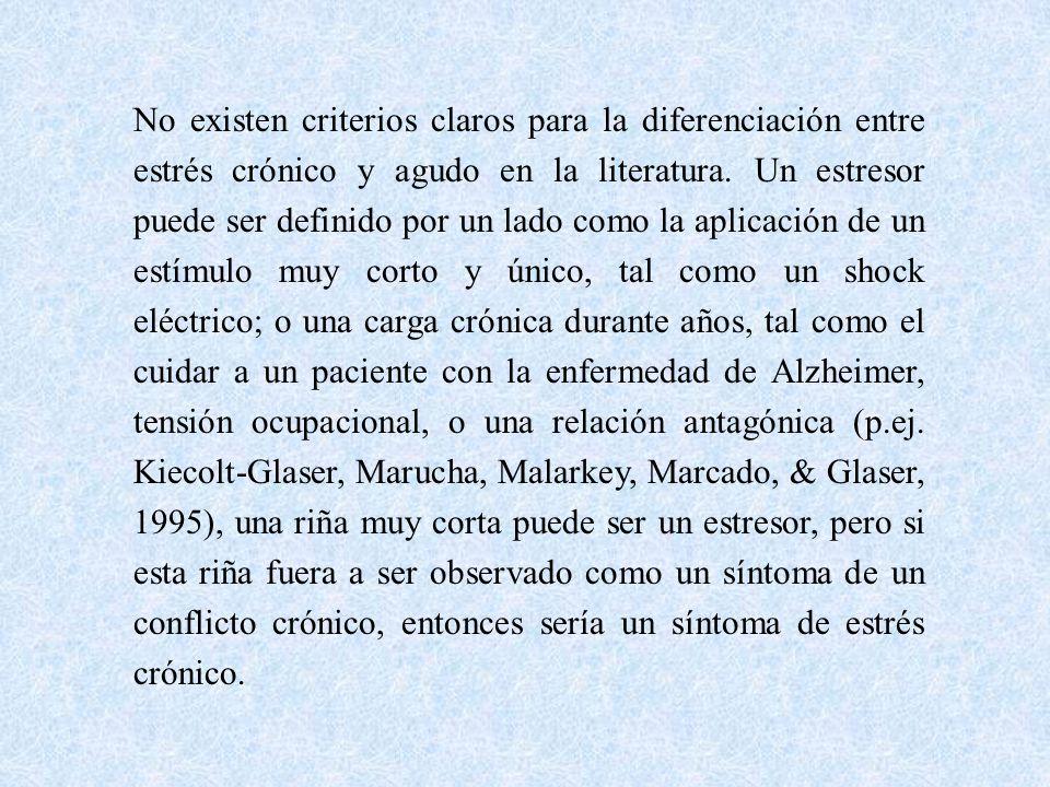 No existen criterios claros para la diferenciación entre estrés crónico y agudo en la literatura.