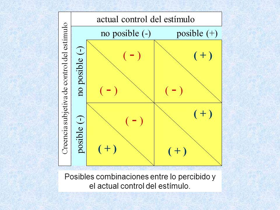 ( - ) ( + ) actual control del estímulo no posible (-) posible (+)