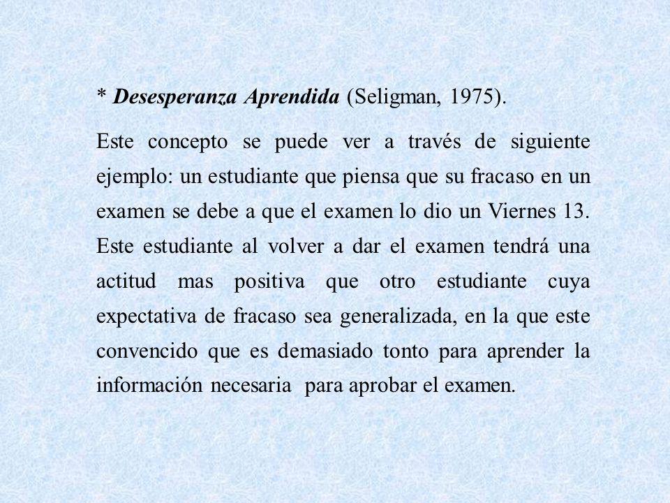 * Desesperanza Aprendida (Seligman, 1975).
