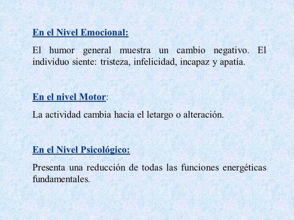 En el Nivel Emocional: El humor general muestra un cambio negativo. El individuo siente: tristeza, infelicidad, incapaz y apatía.