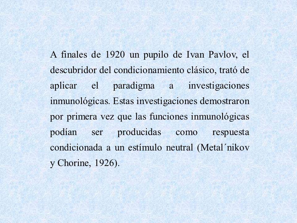 A finales de 1920 un pupilo de Ivan Pavlov, el descubridor del condicionamiento clásico, trató de aplicar el paradigma a investigaciones inmunológicas.