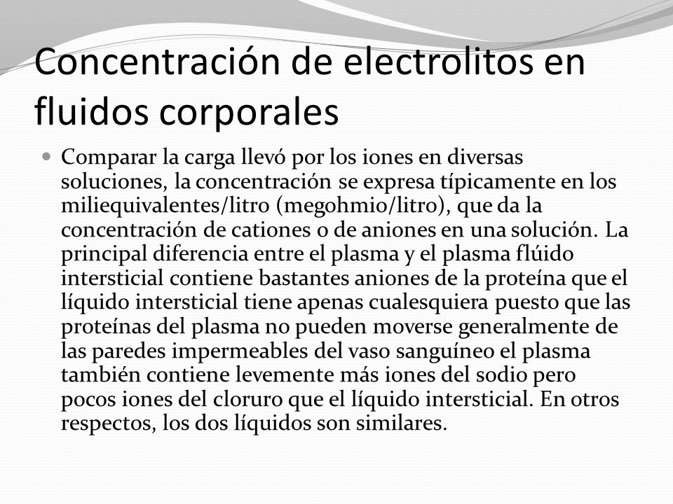 Concentración de electrolitos en fluidos corporales