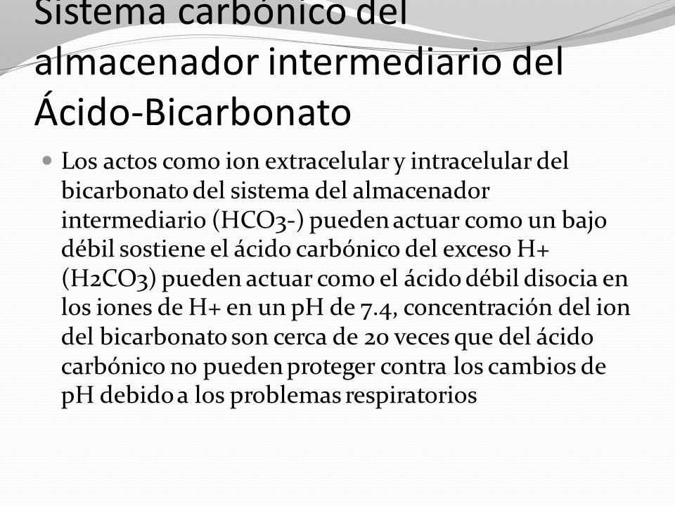 Sistema carbónico del almacenador intermediario del Ácido-Bicarbonato