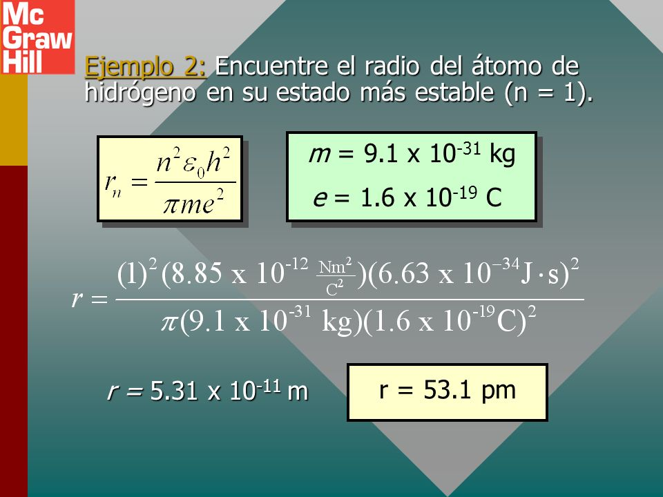 Ejemplo 2: Encuentre el radio del átomo de hidrógeno en su estado más estable (n = 1).