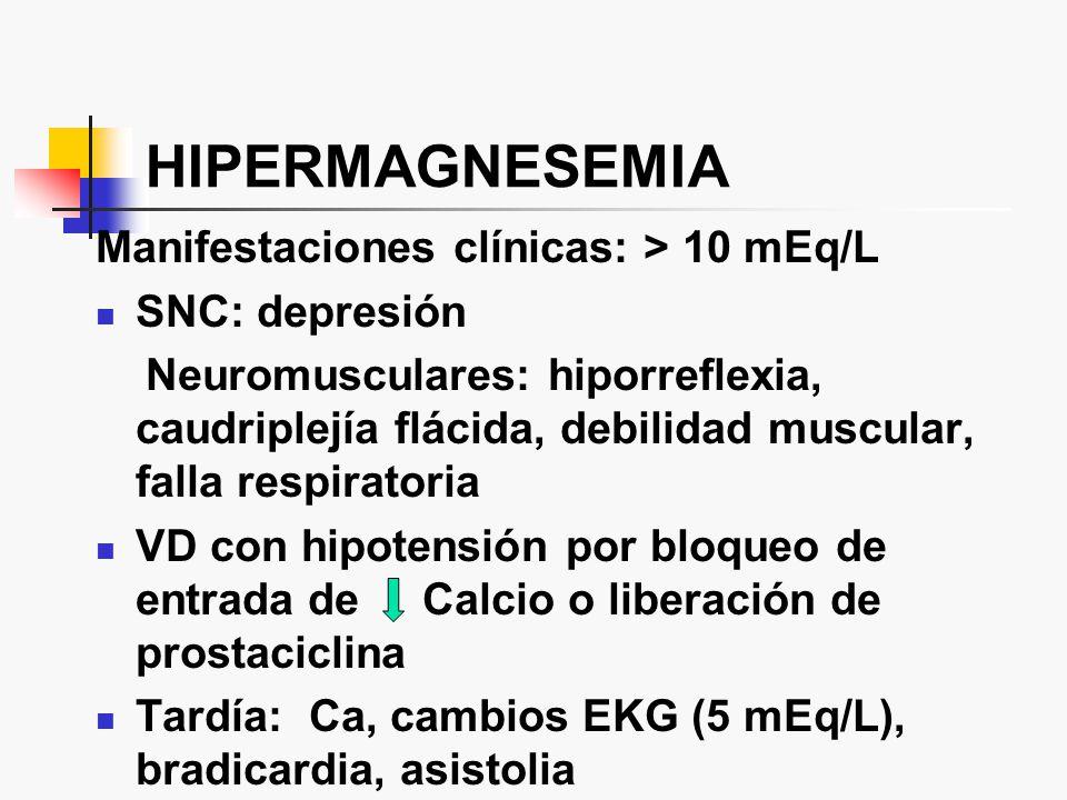 HIPERMAGNESEMIA Manifestaciones clínicas: > 10 mEq/L SNC: depresión