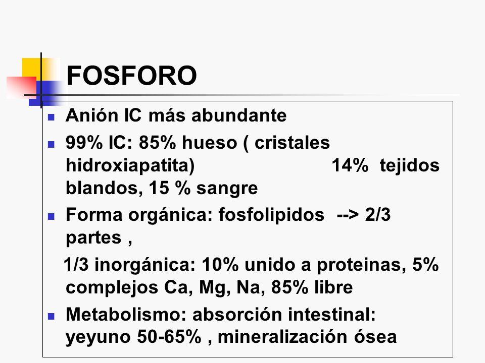 FOSFORO Anión IC más abundante