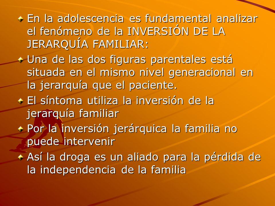 En la adolescencia es fundamental analizar el fenómeno de la INVERSIÓN DE LA JERARQUÍA FAMILIAR:
