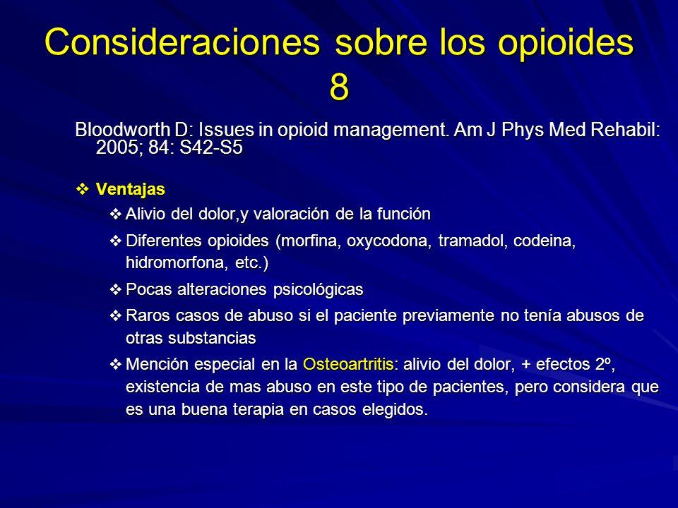 Consideraciones sobre los opioides 8