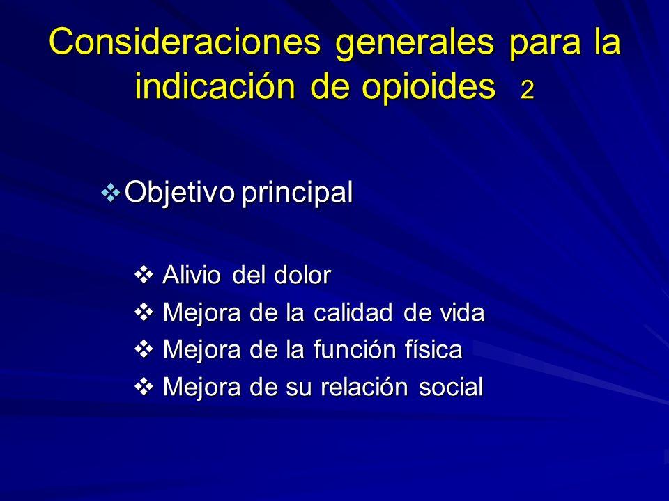 Consideraciones generales para la indicación de opioides 2