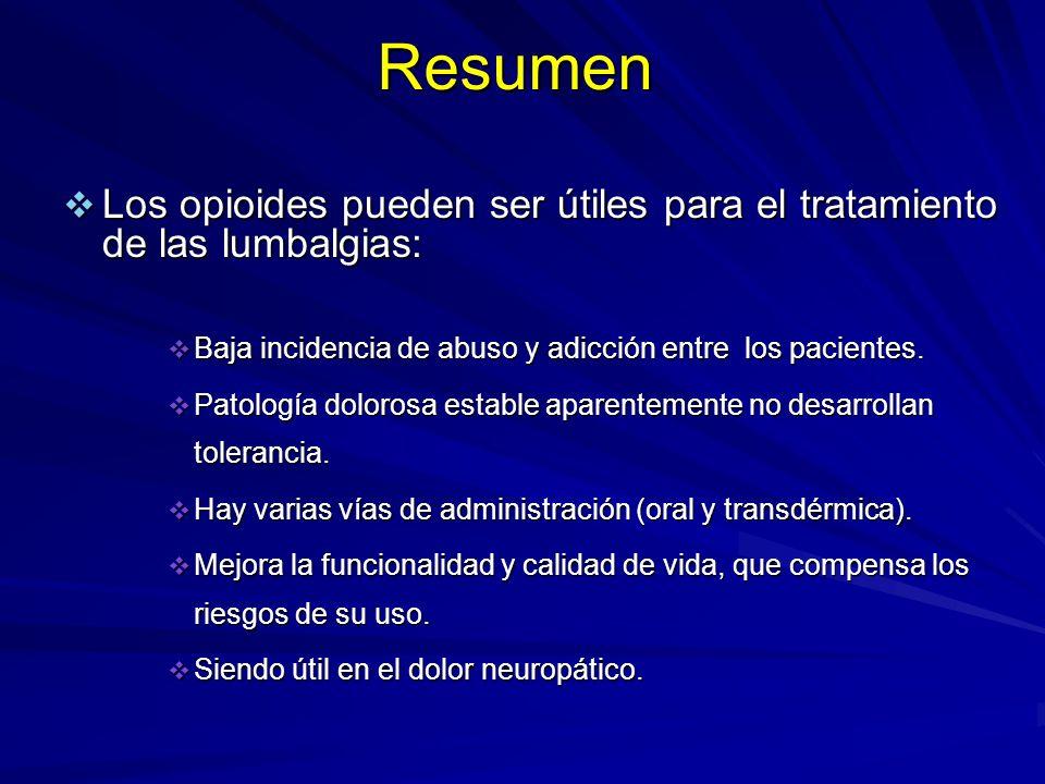 Resumen Los opioides pueden ser útiles para el tratamiento de las lumbalgias: Baja incidencia de abuso y adicción entre los pacientes.