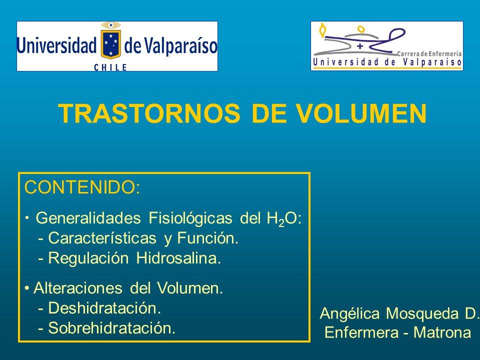 TRASTORNOS DE VOLUMEN CONTENIDO: Generalidades Fisiológicas del H2O: