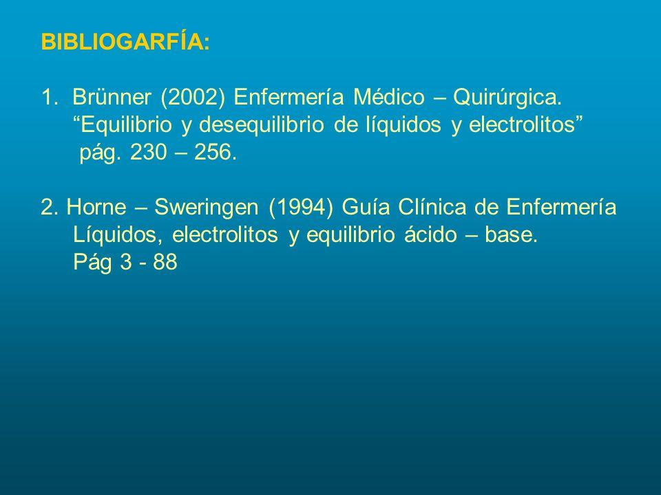 BIBLIOGARFÍA: 1. Brünner (2002) Enfermería Médico – Quirúrgica. Equilibrio y desequilibrio de líquidos y electrolitos