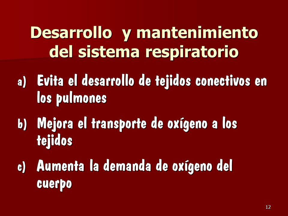 Desarrollo y mantenimiento del sistema respiratorio